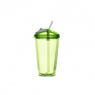 Kubek z pokrywką i słomką 450 ml Sagaform Fresh zielony