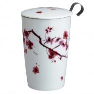 Kubek z zaparzaczką do herbaty 350ml Eigenart Kwiat Wiśni biały