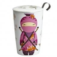 Kubek z zaparzaczką do herbaty 350ml Eigenart Ninja biało-różowy