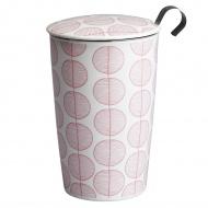 Kubek z zaparzaczką do herbaty 350ml Eigenart Szelest Liści biało-różowy