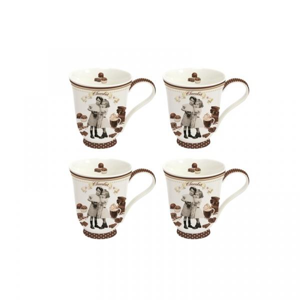 Kubki porcelanowe 4 szt. Nuova R2S Chocolate Vintage 1125 CHOV