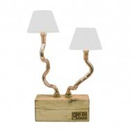 Lampa biurkowa z podwojnym abażurem Gie El miedziana