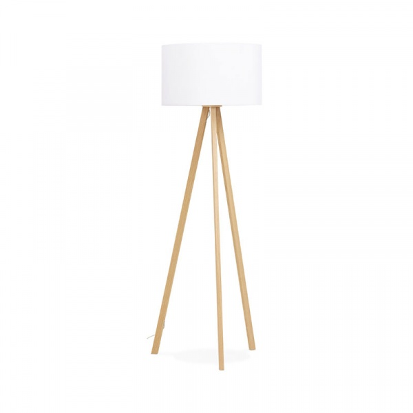 Lampa podłogowa Trivet Kokoon Design biały drewniane nogi FL00380WHNA