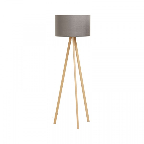 Lampa podłogowa Trivet Kokoon Design szary drewniane nogi FL00350GRNA
