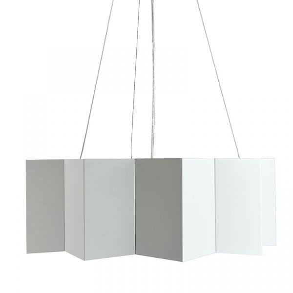 Lampa wisząca 20 cm x 56 cm Gie El stalowa biała LGH0541