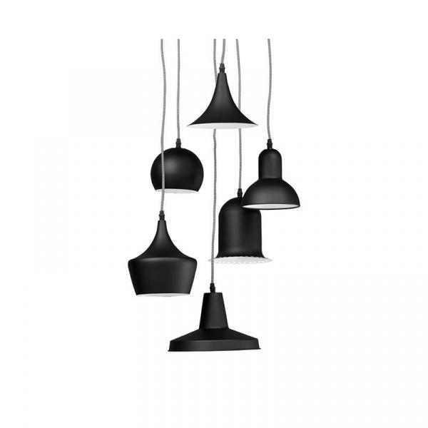 Lampa wisząca 6 kloszy Queen Kokoon Design czarny HL00430BL