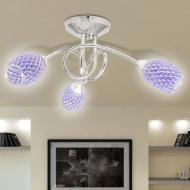 Lampa wisząca z 3 kloszami z akrylowych kryształków fiolet