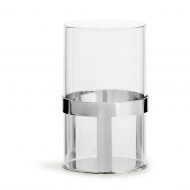 lampion na tealight, śred. 7 x 12,5 cm, srebrny