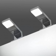 Lampy nad lustro, 2 szt., 2 W, zimne, białe światło