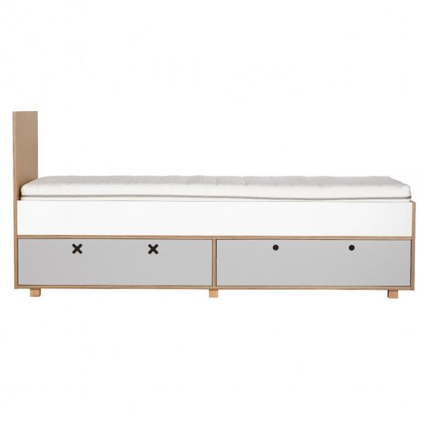 Łóżko 205,5x45 Durbas Style Kółko Krzyżyk szare DUS702