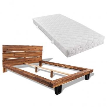 łóżko Z Materacem Lite Drewno Akacjowe 180x200 Cm