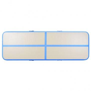 Mata gimnastyczna z pompką, 700x100x10 cm, PVC, niebieska