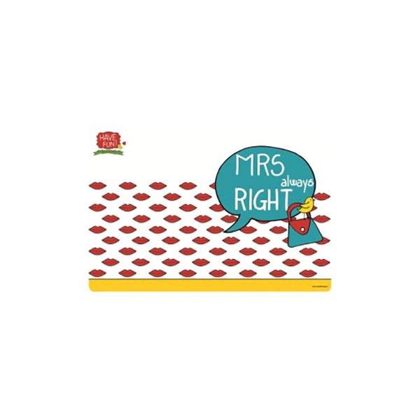 Mata stołowa Mrs Right 45x30cm Nuova R2S Have Fun 550 ARIG