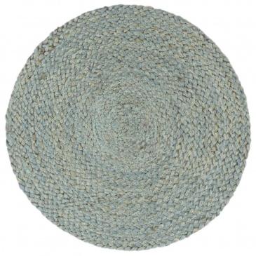 Maty na stół, 6 szt., gładkie, oliwkowe, 38 cm, okrągłe, juta