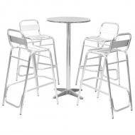 Meble barowe z okrągłym stolikiem, 5 szt., srebrne, aluminium