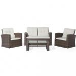 Meble ogrodowe - rattanowe - tarasowe - stół + sofa + 2 fotele - Eufemia