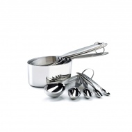 Miarki stalowe kubeczki i łyżki 9 szt. Cuisipro srebrne