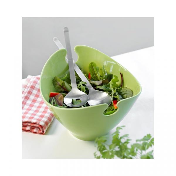 Misa na sałakę z łyżkami 26x23x17cm Steel-Function ceramiczna zielona HK-65406