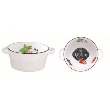 Misa z porcelany z rączkami 12 cm Nuova R2S Kitchen Basics