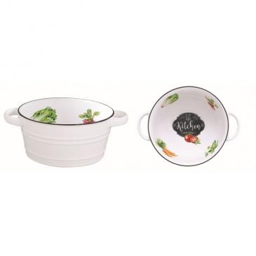 Misa z porcelany z rączkami 16 cm Nuova R2S Kitchen Basics