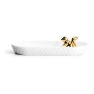 miseczka do serwowania, wiewiórka, złota, 26 x 12,5 x 3 cm