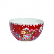 Miseczka z porcelany Nuova R2S Jardin Secret czerwona białe zdobienie