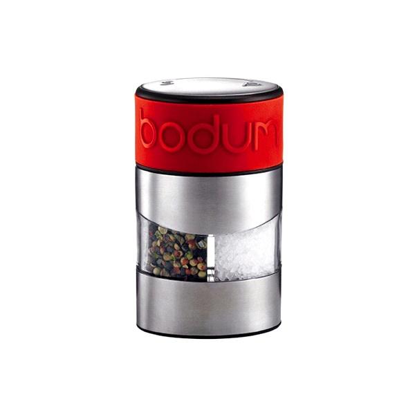 Młynek do soli i do pieprzu w jednym Bodum Twin z czerwonym paskiem BD-11002-294