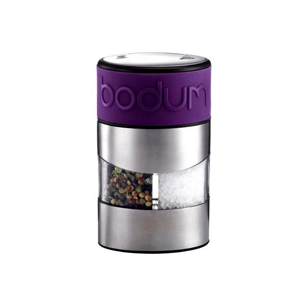 Młynek do soli i do pieprzu w jednym Bodum Twin z fioletowym paskiem BD-11002-278
