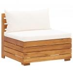 Moduł sofy środkowej, 1 szt, z poduszkami, lite drewno akacjowe