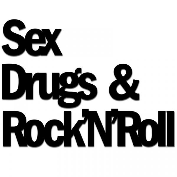 Napis 3D na ścianę DekoSign SEX DRUGS & ROCK'N'ROLL czarny SDR1-1