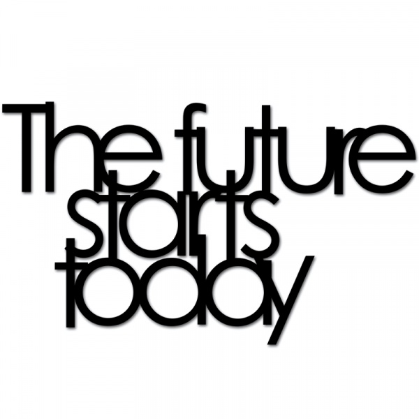 Napis 3D na ścianę DekoSign THE FUTURE STARTS TODAY czarny TFST1-1