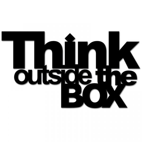 Napis 3D na ścianę DekoSign THINK OUTSIDE THE BOX czarny  TOB1-1