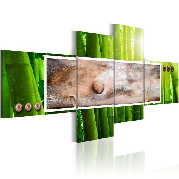 Obraz - Abstrakcja i bambus (100x46 cm) A0-N1181