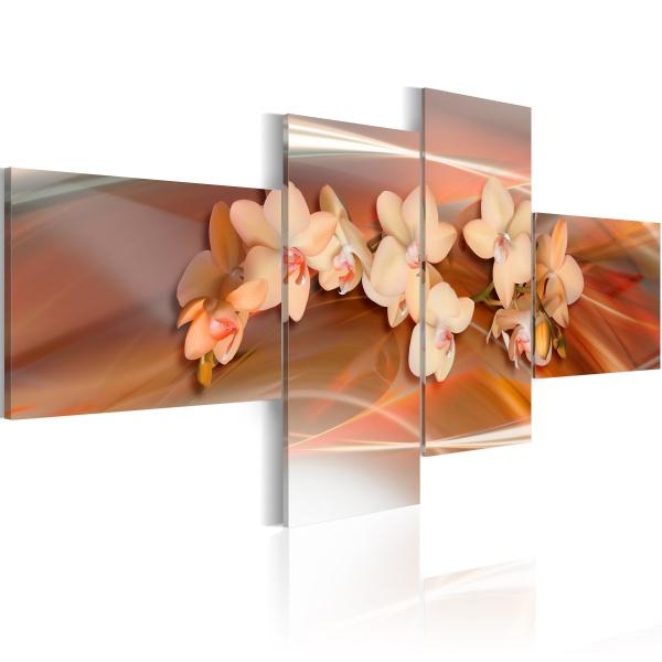 Obraz - Biała orchidea na jesiennym tle (100x45 cm) A0-N1336