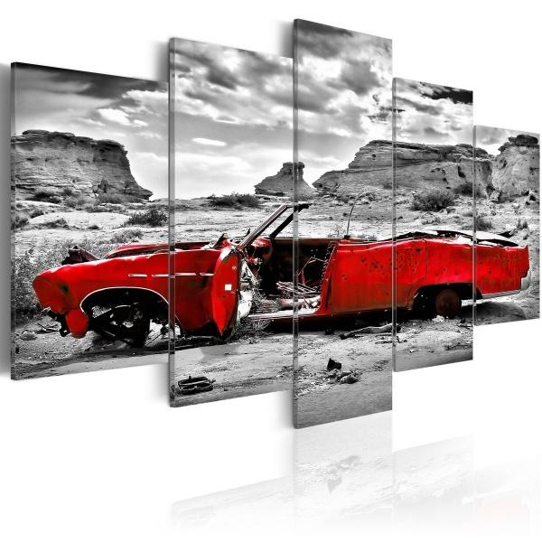 Obraz - Czerwony samochód w stylu retro na Pustyni Kolorado - 5 części (100x50 cm) A0-N1075