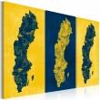Obraz - Malowana mapa Szwecji - tryptyk A0-N2125