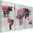 Obraz - Mapa świata (Język francuski) - tryptyk A0-N2147