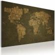 Obraz - Mapa świata, język niemiecki: beżowe kontynenty A0-N2189