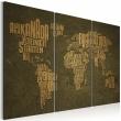 Obraz - Mapa świata, język niemiecki: beżowe kontynenty - tryptyk A0-N2137
