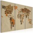 Obraz - Mapa świata (Język niemiecki) - tryptyk A0-N2136