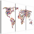 Obraz - Mapa świata - piksele - tryptyk A0-N2115