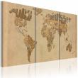 Obraz - Mapa świata w beżach i brązach A0-N2014
