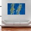 Obraz - Mapa Szwecji (niebieskie tło) - tryptyk A0-N2141