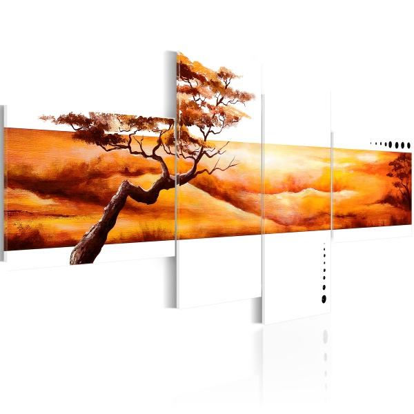 Obraz - Pomarańczowe chmury nad sawanną (100x45 cm) A0-N1058