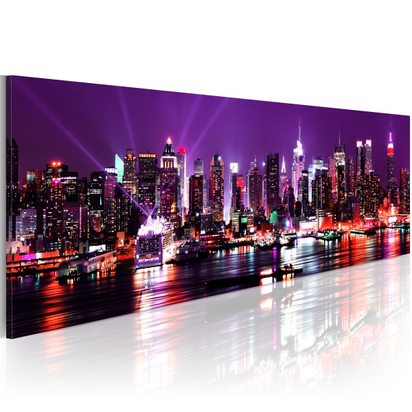 Obraz - Purple sky over New York (120x40 cm) A0-N1201