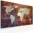 Obraz - Rdzawa mapa świata - tryptyk A0-N2050