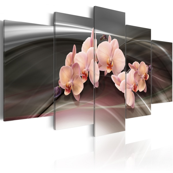 Obraz - Różowa orchidea na ciemnym tle (100x50 cm) A0-N1340