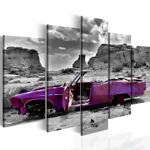 Obraz - Samochód w stylu retro na Pustyni Kolorado - 5 części (100x50 cm) A0-N1123