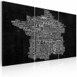 Obraz - Text map of France on the black background - triptych A0-N2135