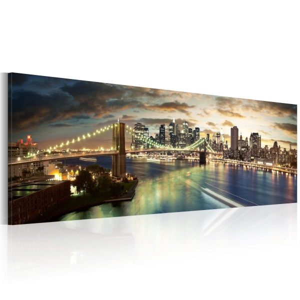 Obraz - The East River at night (120x40 cm) A0-N1198